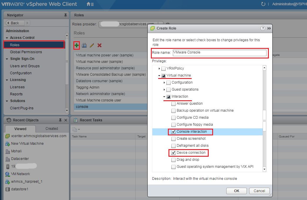 How to add a new user for VMRC console? - Knowledgebase