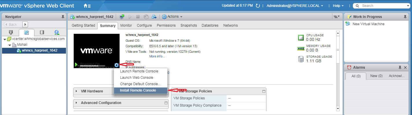 Give option to your user to use the VMRC Console - בסיס ידע