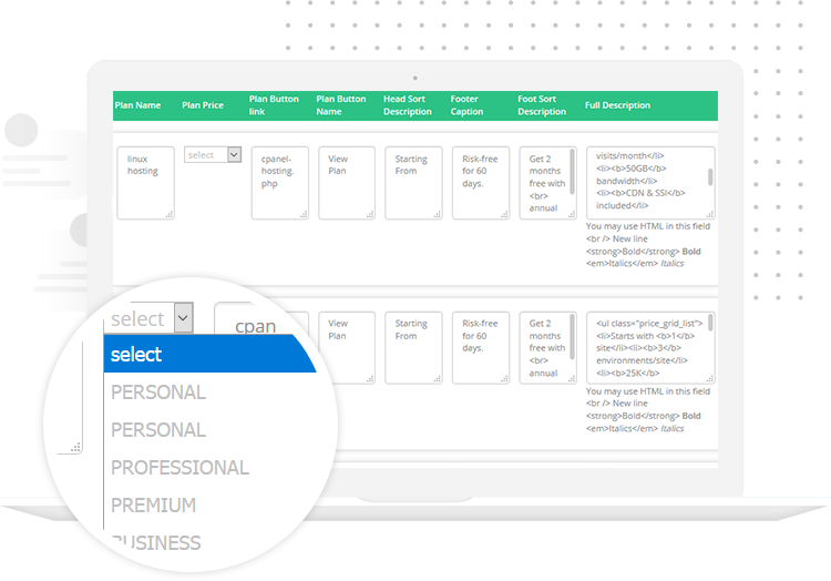 WHMCS HostX web hosting theme Prodcts Manager