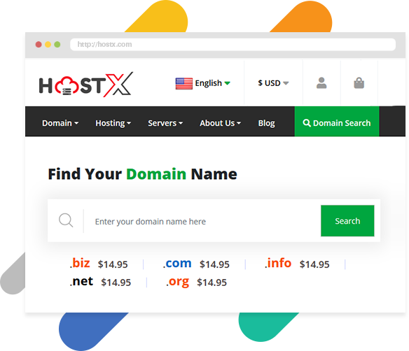 WHMCS HostX web hosting theme Domain Search Section