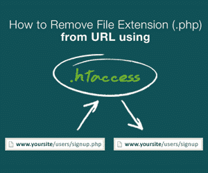 How to remove file extension(.php) from URL using .htaccess blog banner image