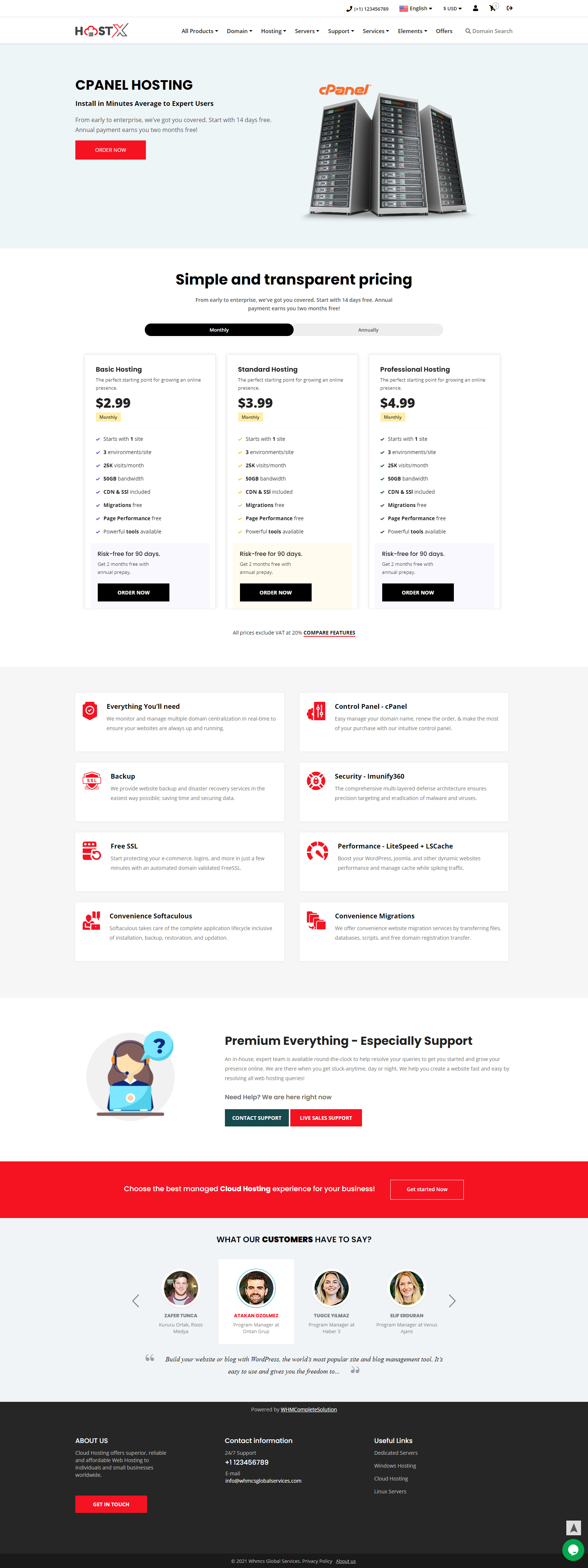whmcs client area template